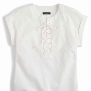 J. Crew | Lace-Up Popover Top SZ 4T Solid White
